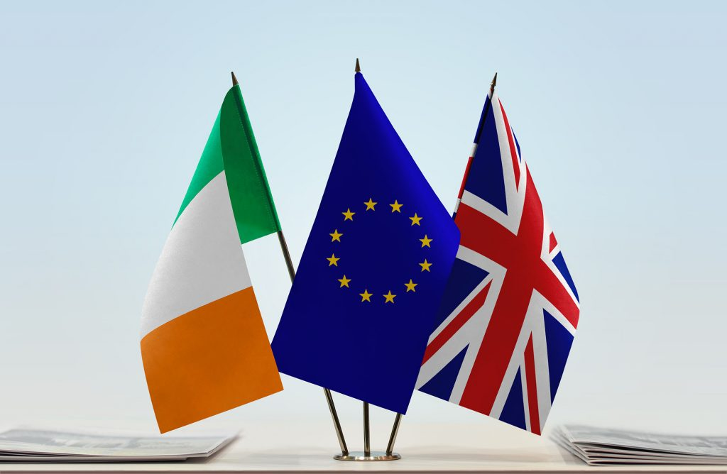 Flags of Ireland and United Kingdom with a EU flag
